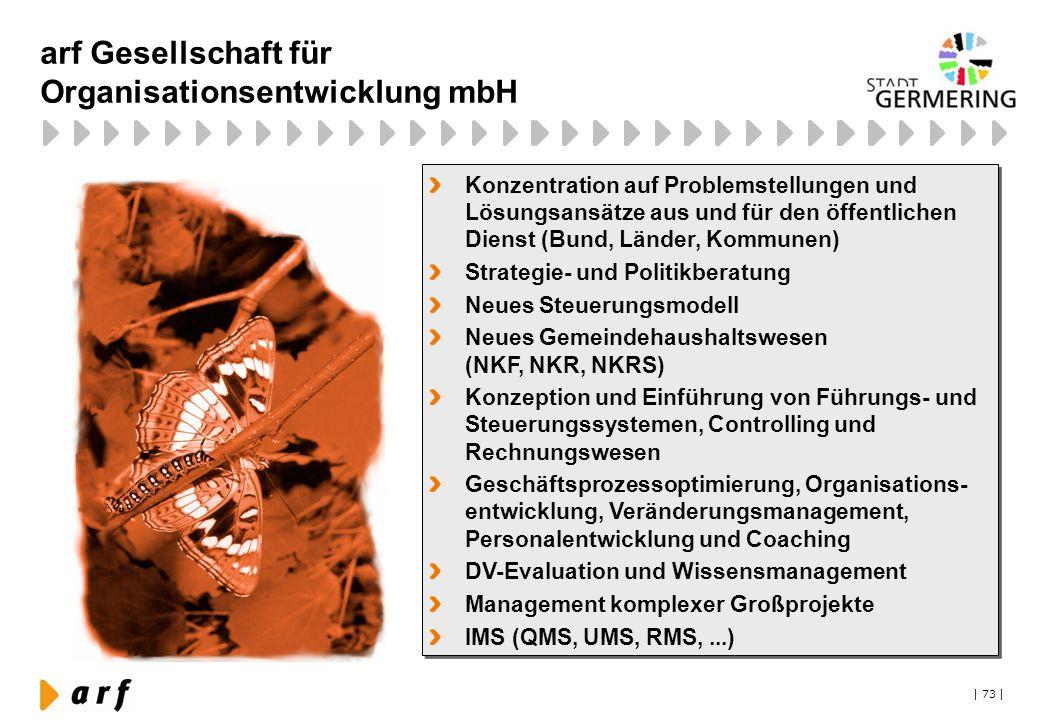 | 73 | arf Gesellschaft für Organisationsentwicklung mbH Konzentration auf Problemstellungen und Lösungsansätze aus und für den öffentlichen Dienst (B