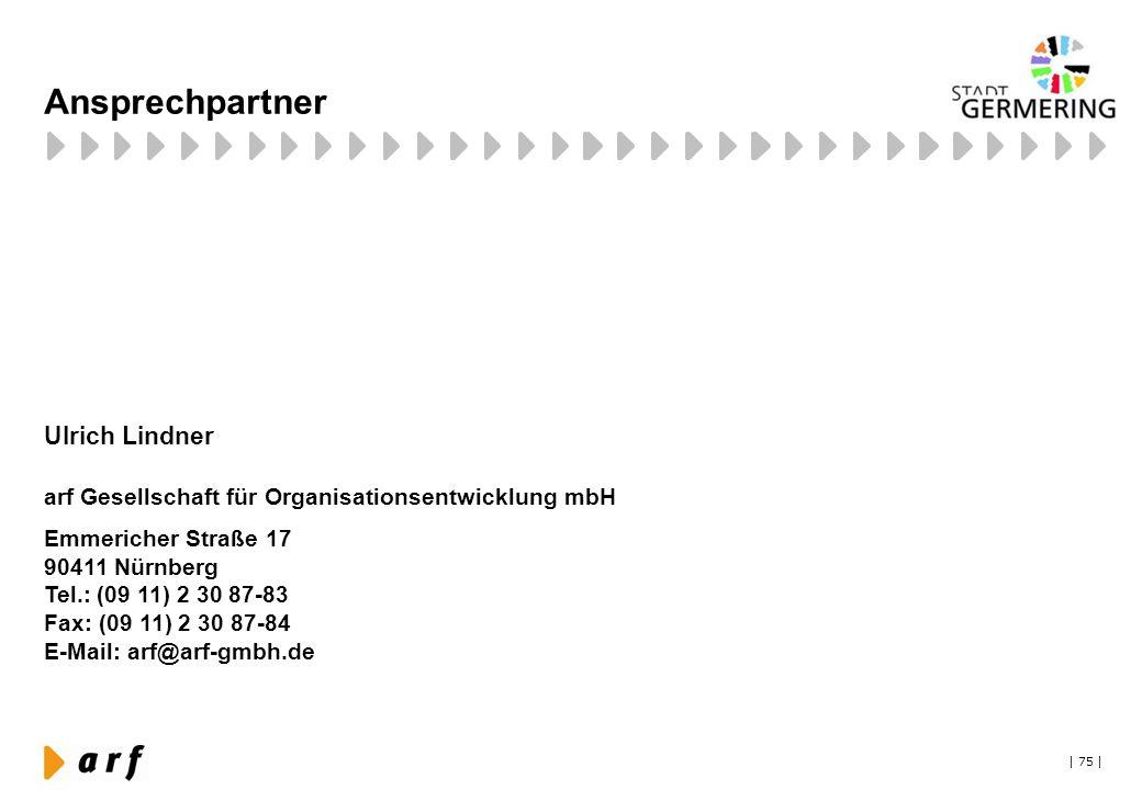 | 75 | Ansprechpartner Ulrich Lindner arf Gesellschaft für Organisationsentwicklung mbH Emmericher Straße 17 90411 Nürnberg Tel.: (09 11) 2 30 87-83 F