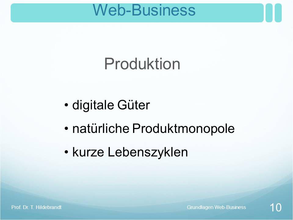 Web-Business Produktion digitale Güter natürliche Produktmonopole kurze Lebenszyklen Grundlagen Web-Business 10 Prof. Dr. T. Hildebrandt