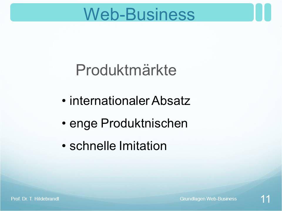 Web-Business Produktmärkte internationaler Absatz enge Produktnischen schnelle Imitation Grundlagen Web-Business 11 Prof. Dr. T. Hildebrandt