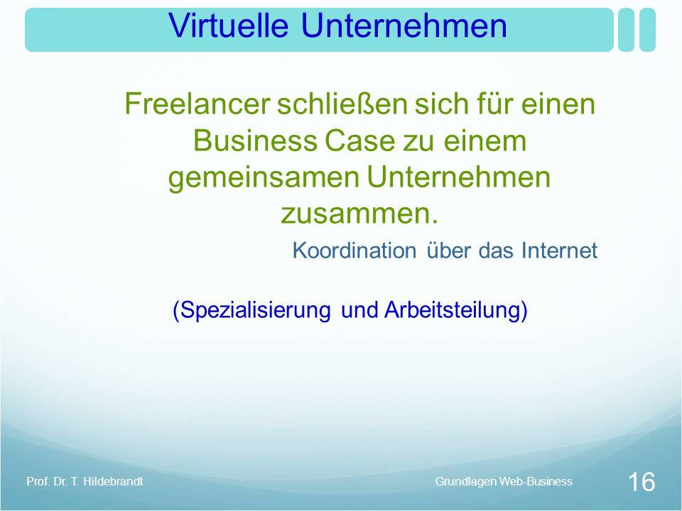 Virtuelle Unternehmen Freelancer schließen sich für einen Business Case zu einem gemeinsamen Unternehmen zusammen.