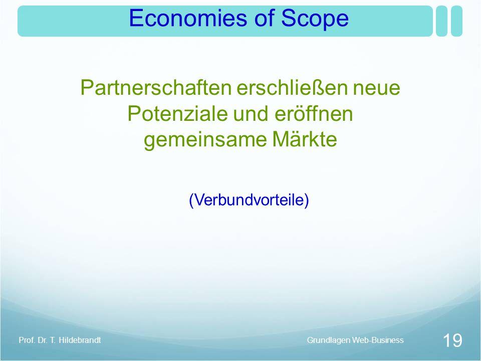 Economies of Scope Partnerschaften erschließen neue Potenziale und eröffnen gemeinsame Märkte Grundlagen Web-Business 19 Prof. Dr. T. Hildebrandt