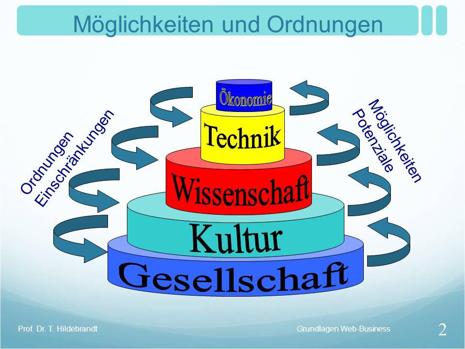 Möglichkeiten und Ordnungen Ordnungen Einschränkungen Möglichkeiten Potenziale Grundlagen Web-Business 2 Prof. Dr. T. Hildebrandt