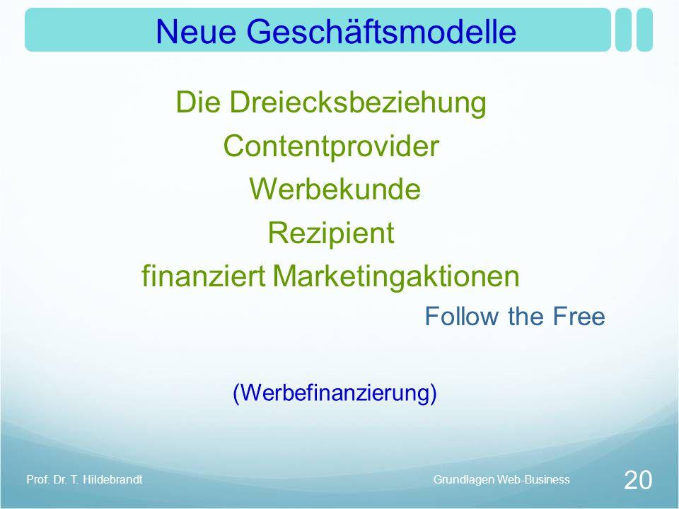 Neue Geschäftsmodelle Die Dreiecksbeziehung Contentprovider Werbekunde Rezipient finanziert Marketingaktionen Follow the Free Grundlagen Web-Business 20 Prof.