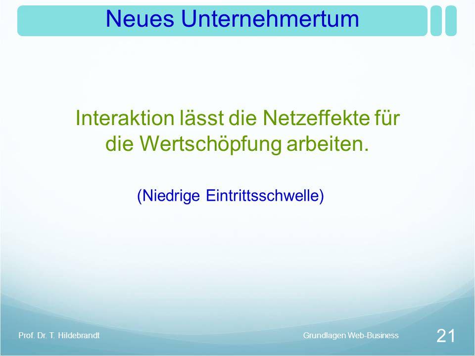 Neues Unternehmertum Interaktion lässt die Netzeffekte für die Wertschöpfung arbeiten. Grundlagen Web-Business 21 Prof. Dr. T. Hildebrandt