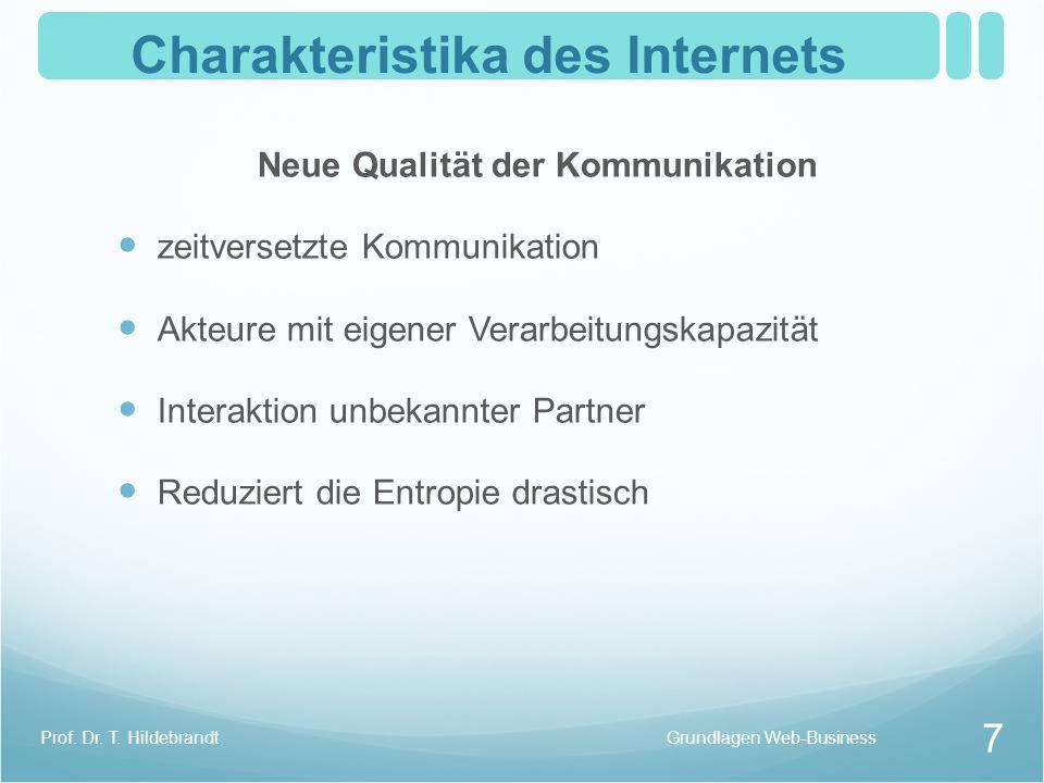 Charakteristika des Internets Neue Qualität der Kommunikation zeitversetzte Kommunikation Akteure mit eigener Verarbeitungskapazität Interaktion unbek
