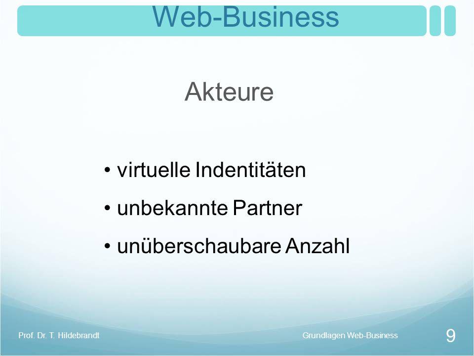 Web-Business Akteure virtuelle Indentitäten unbekannte Partner unüberschaubare Anzahl Grundlagen Web-Business 9 Prof. Dr. T. Hildebrandt