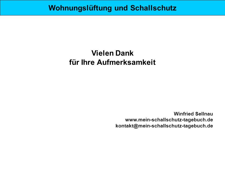 Wohnungslüftung und Schallschutz Vielen Dank für Ihre Aufmerksamkeit Winfried Sellnau www.mein-schallschutz-tagebuch.de kontakt@mein-schallschutz-tage