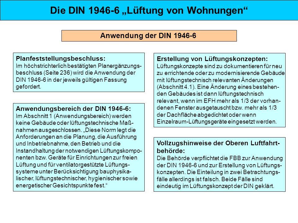 Das Lüftungskonzept der DIN 1946-6 Lüftung zum Feuchteschutz Zur Sicherung des Bautenschutzes (Taupunkt- unterschreitungen an den Oberflächen von Bauteilen) ist jederzeit und unabhängig vom Nutzer ein minimaler Luftwechsel einzuhalten.