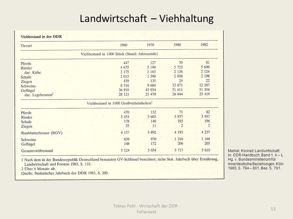 Landwirtschaft – Viehhaltung Tobias Pohl - Wirtschaft der DDR - Foliensatz 13 Merkel, Konrad: Landwirtschaft. In: DDR-Handbuch. Band 1. A – L. Hg. v.