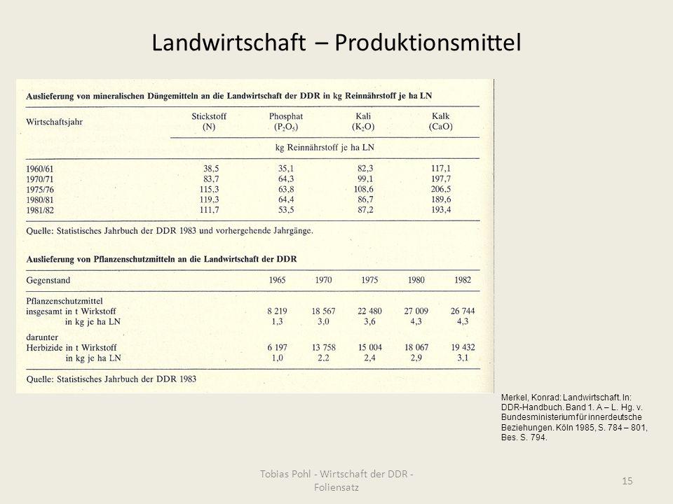 Landwirtschaft – Produktionsmittel Tobias Pohl - Wirtschaft der DDR - Foliensatz 15 Merkel, Konrad: Landwirtschaft. In: DDR-Handbuch. Band 1. A – L. H