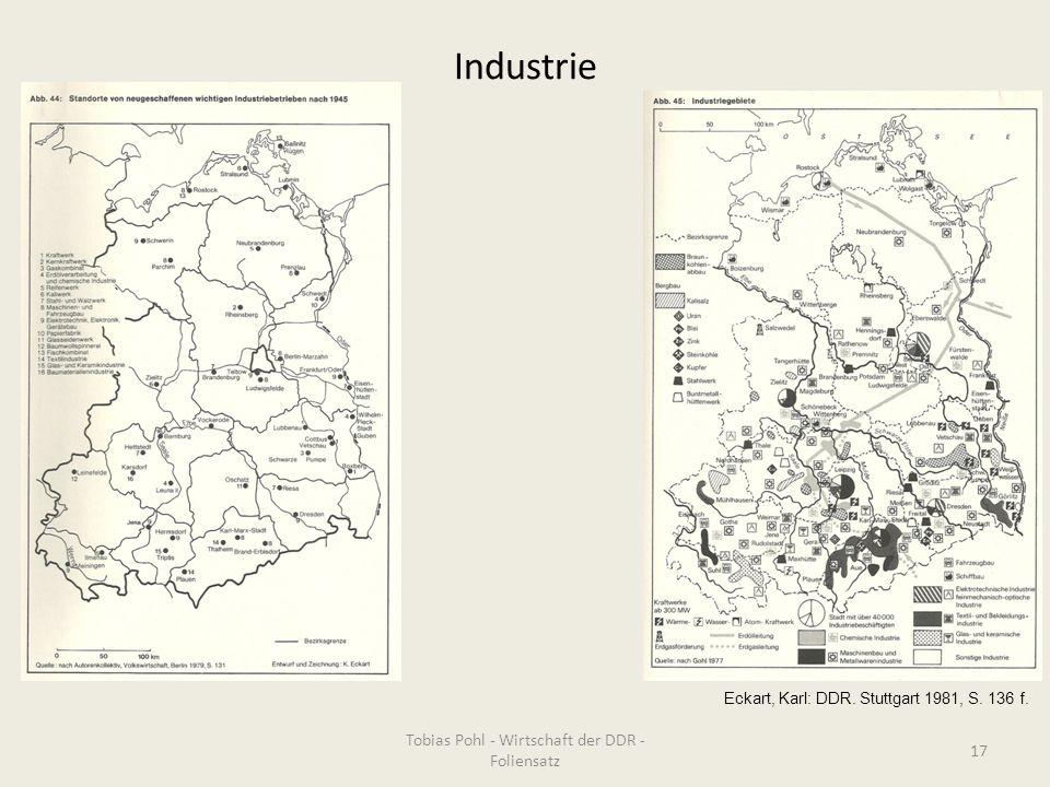 Industrie Tobias Pohl - Wirtschaft der DDR - Foliensatz 17 Eckart, Karl: DDR. Stuttgart 1981, S. 136 f.