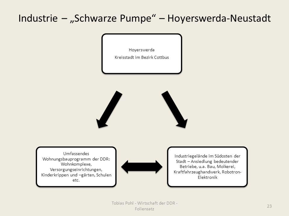 """Industrie – """"Schwarze Pumpe"""" – Hoyerswerda-Neustadt Hoyerswerda Kreisstadt im Bezirk Cottbus Industriegelände im Südosten der Stadt – Ansiedlung bedeu"""