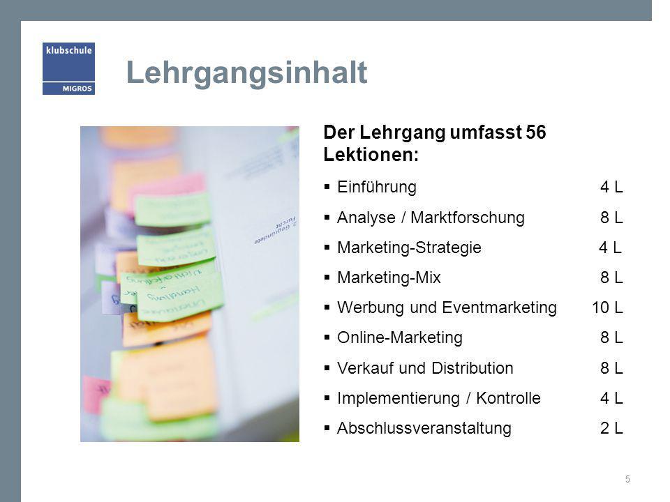 Lehrgangsinhalt Der Lehrgang umfasst 56 Lektionen:  Einführung 4 L  Analyse / Marktforschung 8 L  Marketing-Strategie 4 L  Marketing-Mix 8 L  Wer