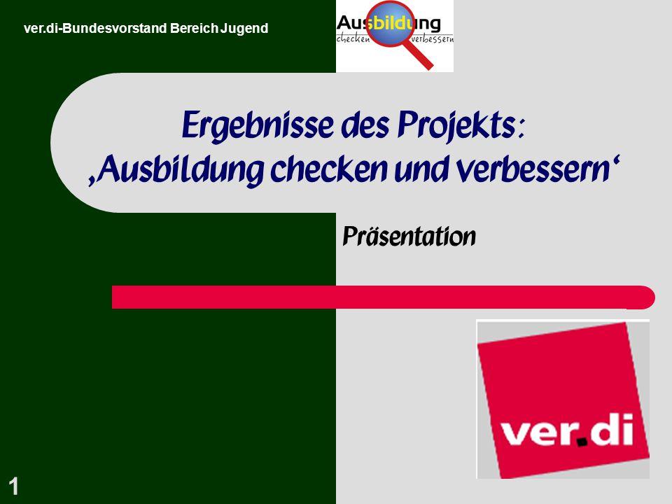 1 Ergebnisse des Projekts: 'Ausbildung checken und verbessern' Präsentation ver.di-Bundesvorstand Bereich Jugend