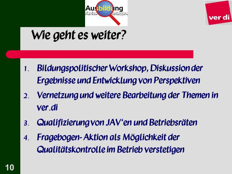 10 Wie geht es weiter?  Bildungspolitischer Workshop, Diskussion der Ergebnisse und Entwicklung von Perspektiven  Vernetzung und weitere Bearbeitu