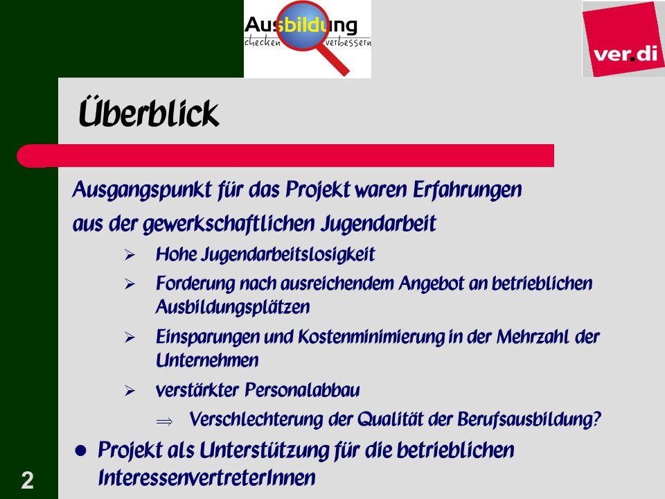 2 Überblick Ausgangspunkt für das Projekt waren Erfahrungen aus der gewerkschaftlichen Jugendarbeit   Hohe Jugendarbeitslosigkeit   Forderung nach