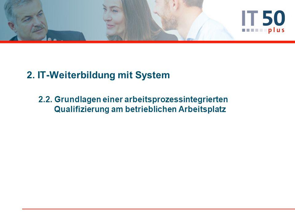 2. IT-Weiterbildung mit System 2.2. Grundlagen einer arbeitsprozessintegrierten Qualifizierung am betrieblichen Arbeitsplatz