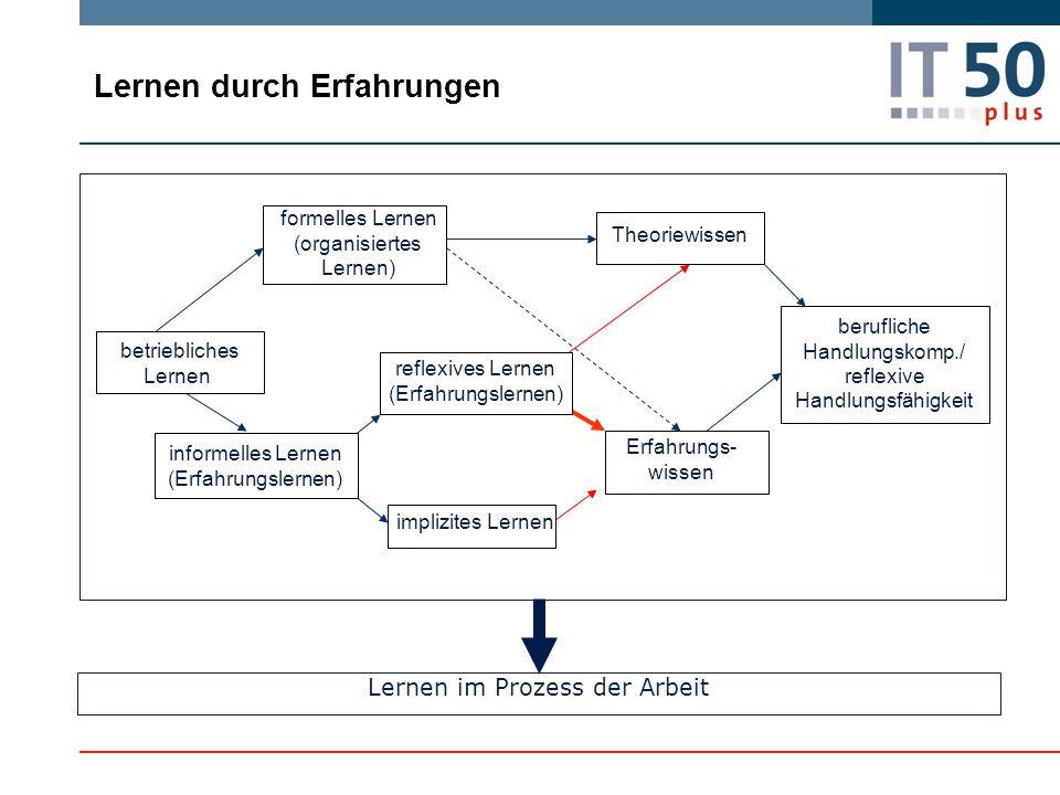 Lernen durch Erfahrungen Lernen im Prozess der Arbeit berufliche Handlungskomp./ reflexive Handlungsfähigkeit formelles Lernen (organisiertes Lernen)