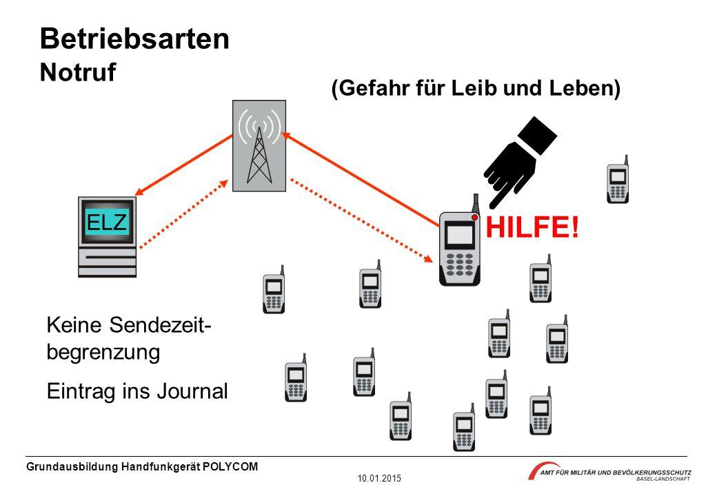 Grundausbildung Handfunkgerät POLYCOM 10.01.2015 AZ Keine Sendezeit- begrenzung Eintrag ins Journal HILFE.