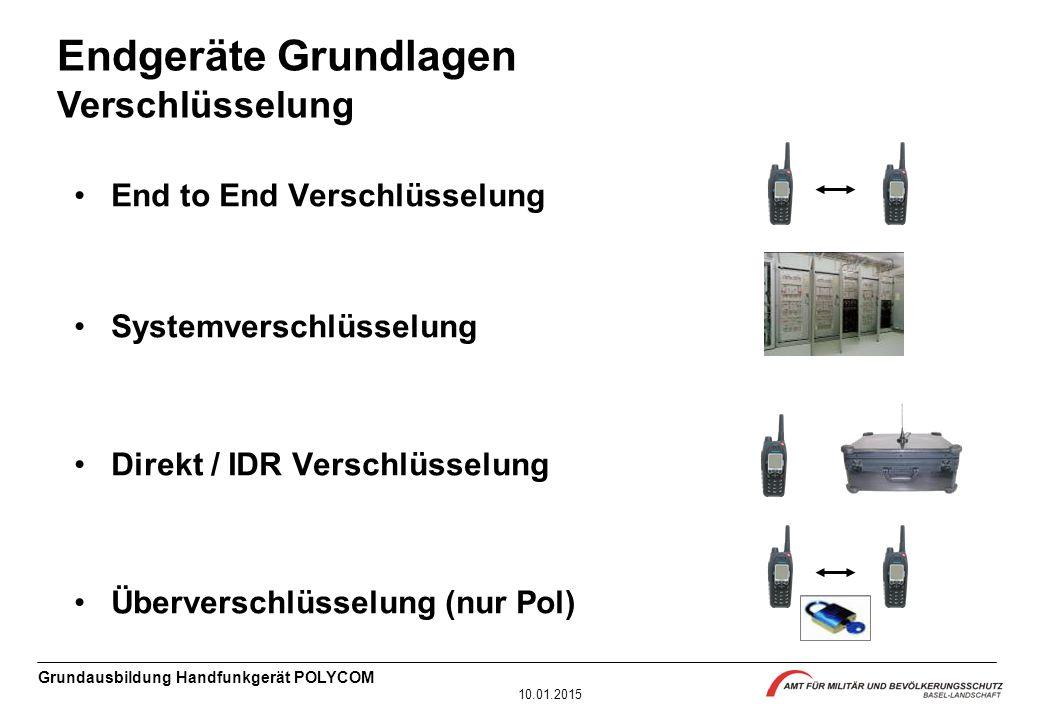Grundausbildung Handfunkgerät POLYCOM 10.01.2015 End to End Verschlüsselung Systemverschlüsselung Direkt / IDR Verschlüsselung Überverschlüsselung (nu