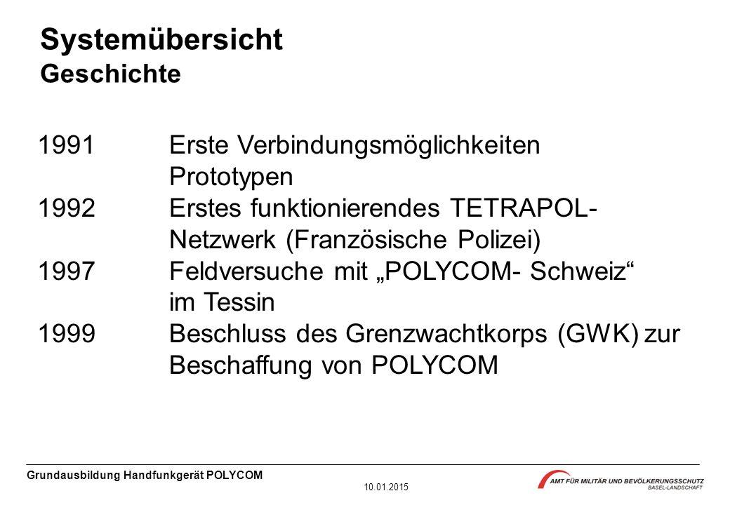 Grundausbildung Handfunkgerät POLYCOM 10.01.2015 1991 Erste Verbindungsmöglichkeiten Prototypen 1992 Erstes funktionierendes TETRAPOL- Netzwerk (Franz