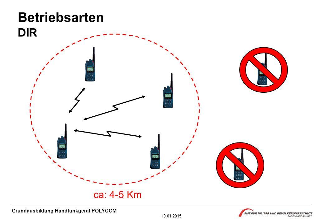 Grundausbildung Handfunkgerät POLYCOM 10.01.2015 Betriebsarten DIR ca: 4-5 Km