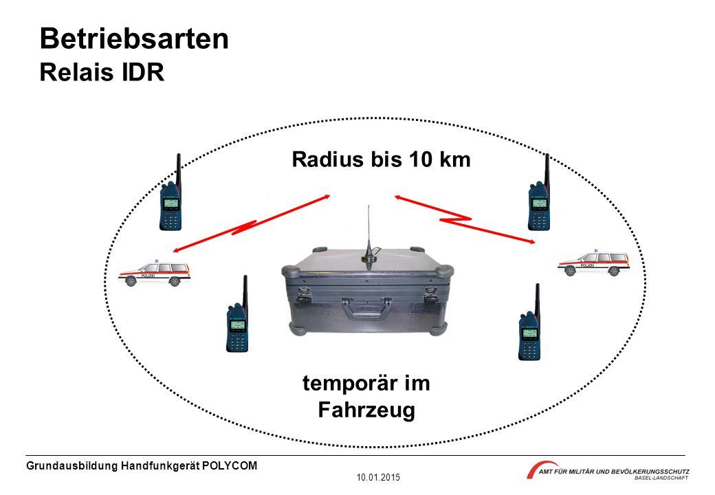 Grundausbildung Handfunkgerät POLYCOM 10.01.2015 Radius bis 10 km temporär im Fahrzeug Betriebsarten Relais IDR