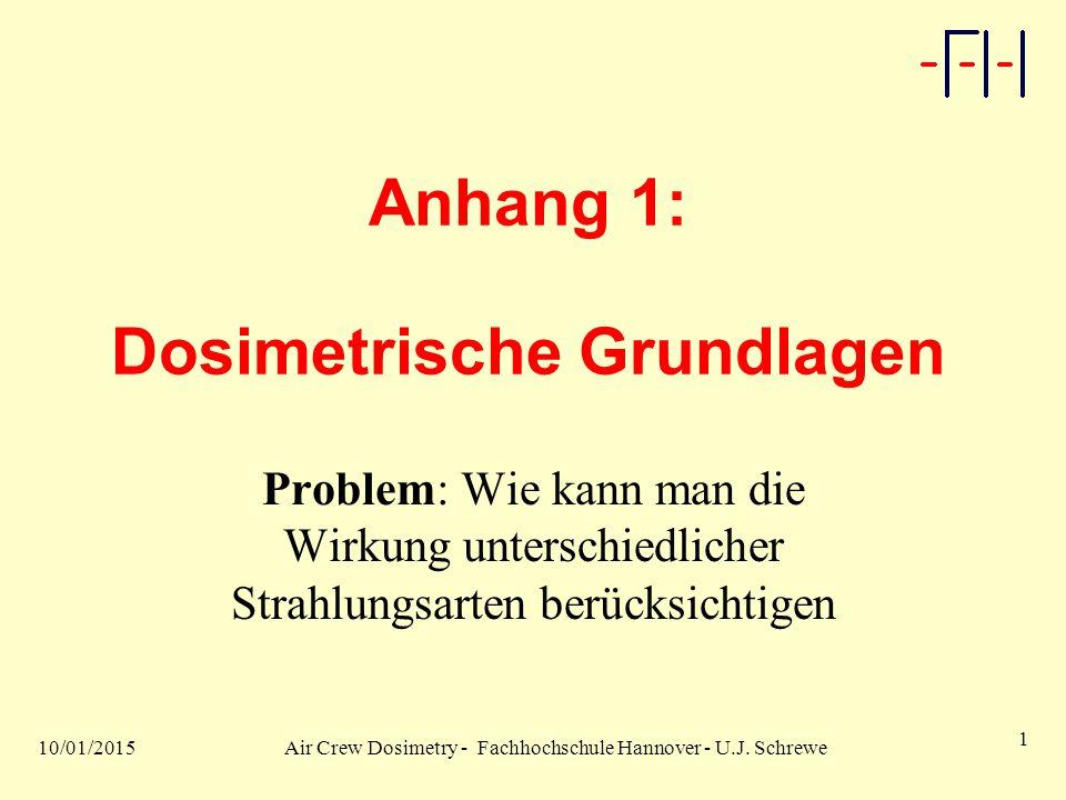 10/01/2015Air Crew Dosimetry - Fachhochschule Hannover - U.J. Schrewe 1 Anhang 1: Dosimetrische Grundlagen Problem: Wie kann man die Wirkung unterschi