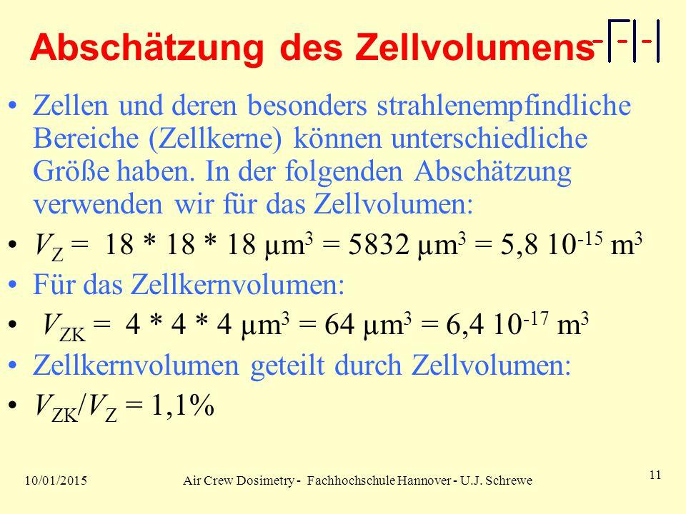 10/01/2015Air Crew Dosimetry - Fachhochschule Hannover - U.J. Schrewe 11 Abschätzung des Zellvolumens Zellen und deren besonders strahlenempfindliche