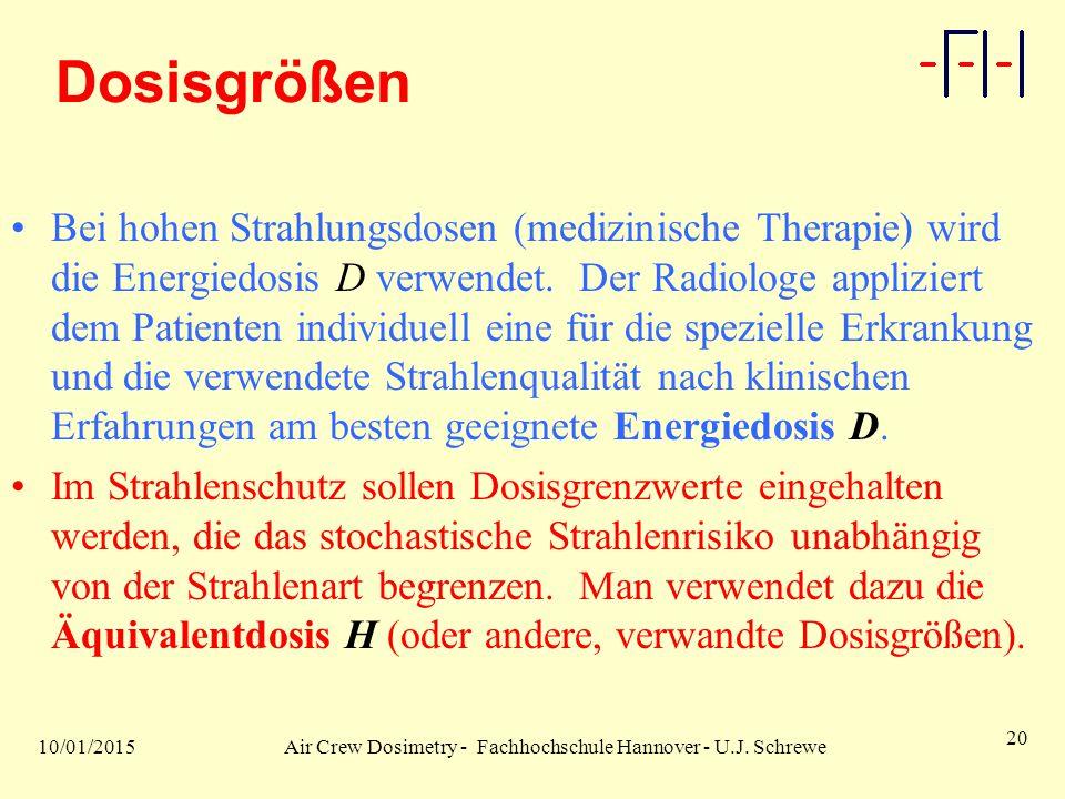 10/01/2015Air Crew Dosimetry - Fachhochschule Hannover - U.J. Schrewe 20 Dosisgrößen Bei hohen Strahlungsdosen (medizinische Therapie) wird die Energi