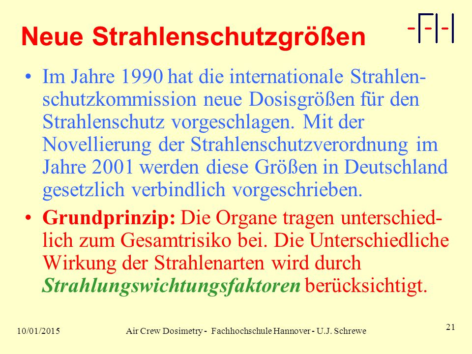 10/01/2015Air Crew Dosimetry - Fachhochschule Hannover - U.J.