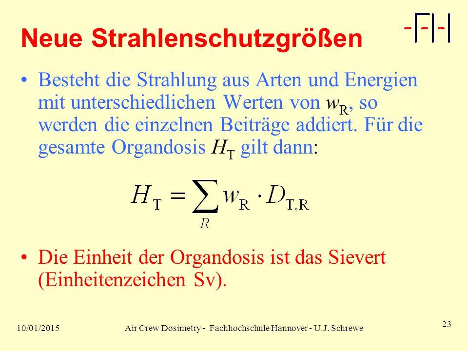 10/01/2015Air Crew Dosimetry - Fachhochschule Hannover - U.J. Schrewe 23 Neue Strahlenschutzgrößen Besteht die Strahlung aus Arten und Energien mit un
