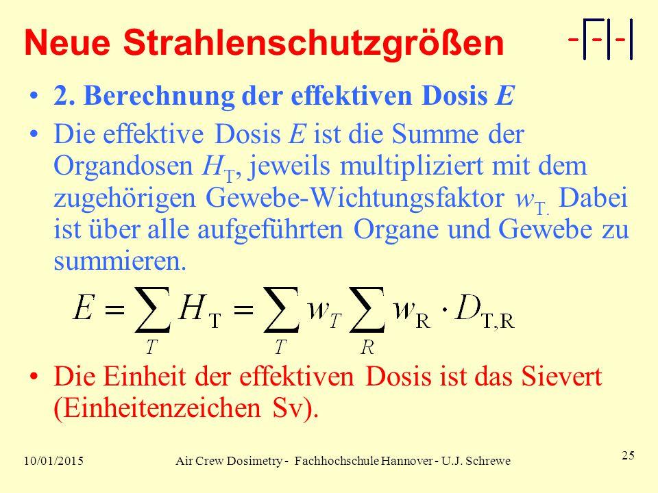 10/01/2015Air Crew Dosimetry - Fachhochschule Hannover - U.J. Schrewe 25 Neue Strahlenschutzgrößen 2. Berechnung der effektiven Dosis E Die effektive