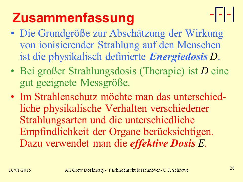10/01/2015Air Crew Dosimetry - Fachhochschule Hannover - U.J. Schrewe 28 Zusammenfassung Die Grundgröße zur Abschätzung der Wirkung von ionisierender