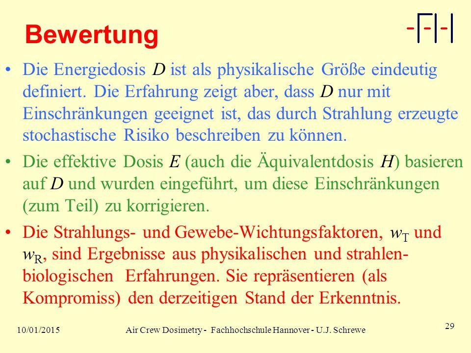 10/01/2015Air Crew Dosimetry - Fachhochschule Hannover - U.J. Schrewe 29 Bewertung Die Energiedosis D ist als physikalische Größe eindeutig definiert.