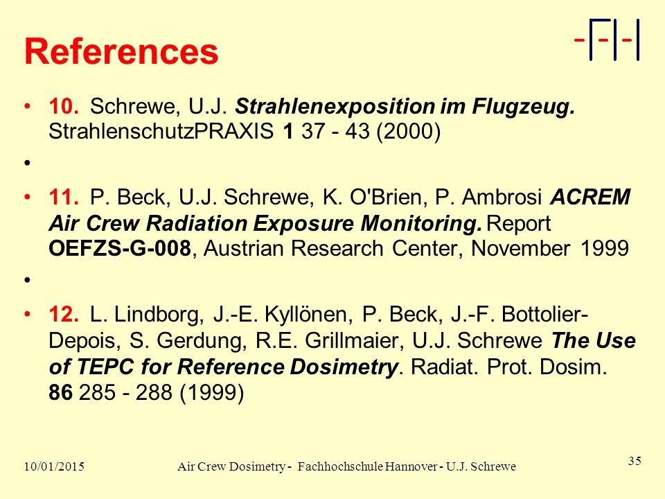 10/01/2015Air Crew Dosimetry - Fachhochschule Hannover - U.J. Schrewe 35 References 10.Schrewe, U.J. Strahlenexposition im Flugzeug. StrahlenschutzPRA