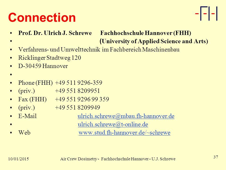 10/01/2015Air Crew Dosimetry - Fachhochschule Hannover - U.J. Schrewe 37 Connection Prof. Dr. Ulrich J. SchreweFachhochschule Hannover (FHH) ( Univers