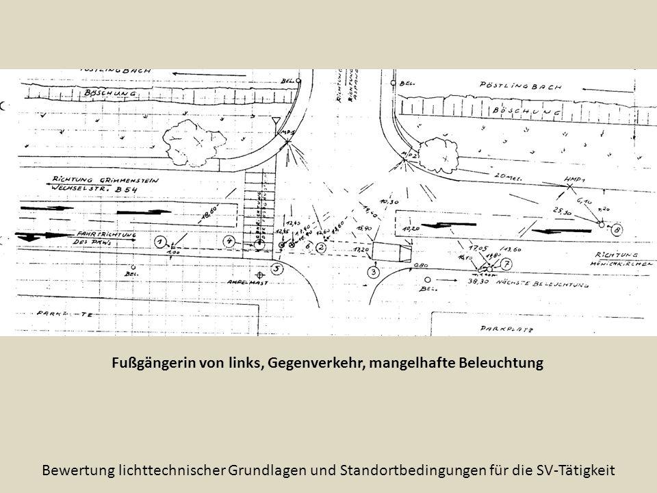 Fußgängerin von links, Gegenverkehr, mangelhafte Beleuchtung Bewertung lichttechnischer Grundlagen und Standortbedingungen für die SV-Tätigkeit