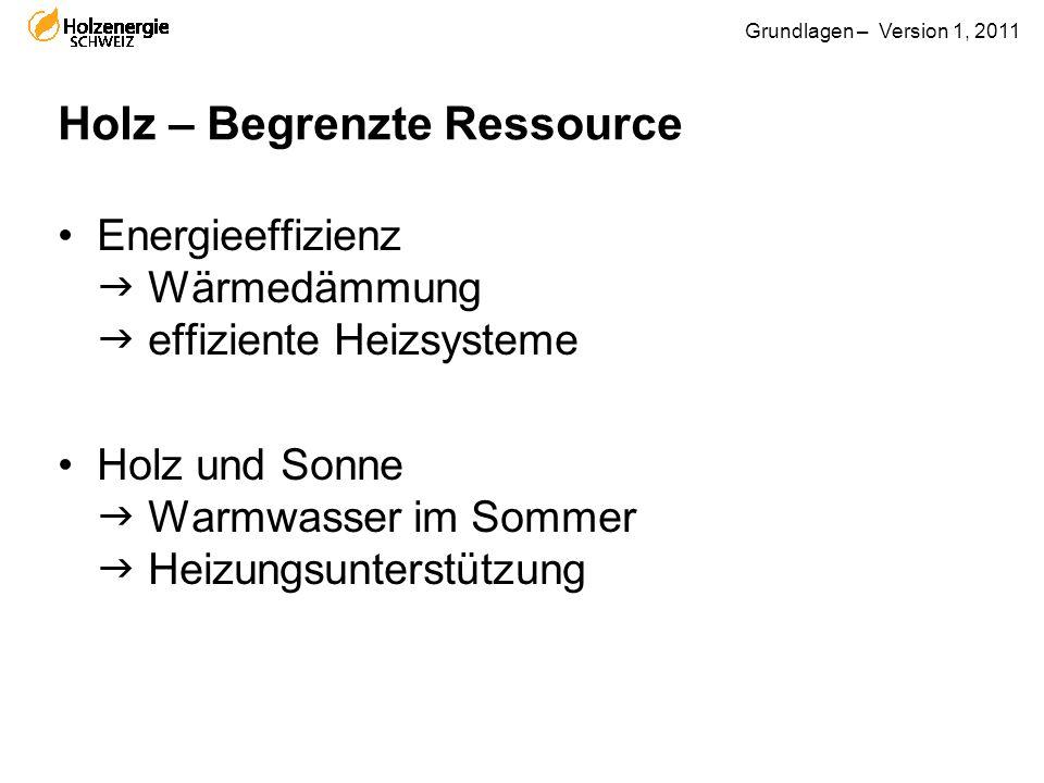 Grundlagen – Version 1, 2011 Holz – Begrenzte Ressource Energieeffizienz  Wärmedämmung  effiziente Heizsysteme Holz und Sonne  Warmwasser im Sommer