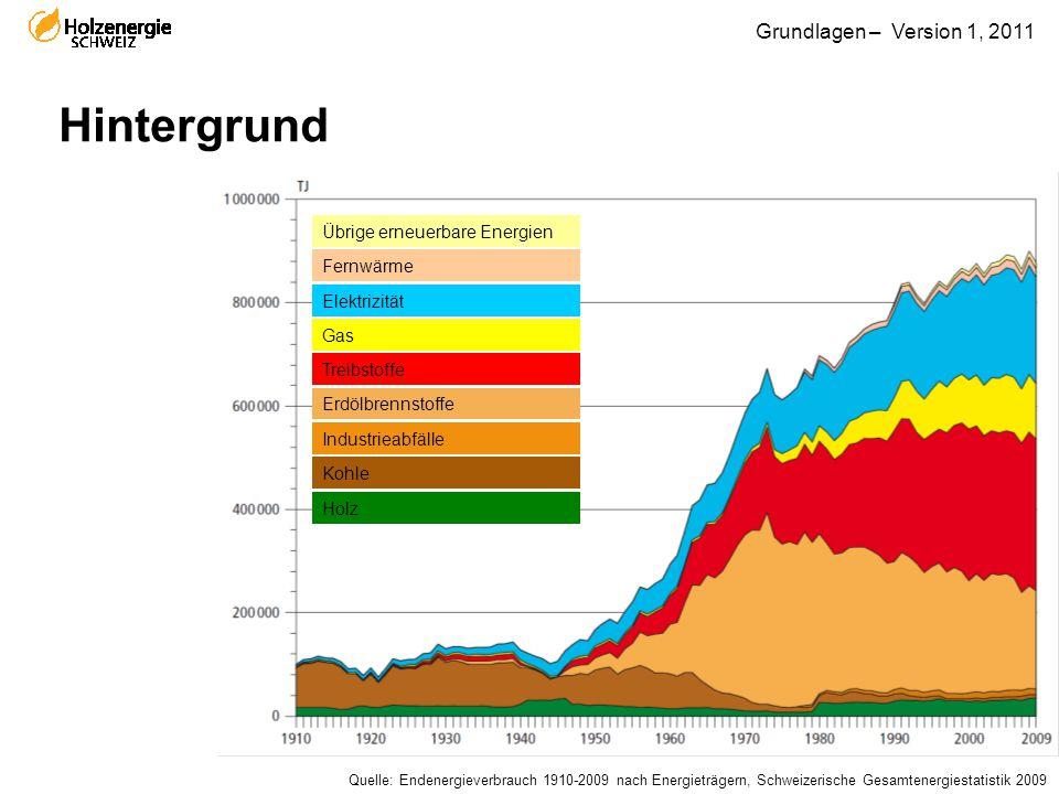 Grundlagen – Version 1, 2011 Hintergrund Übrige erneuerbare Energien Fernwärme Elektrizität Gas Treibstoffe Erdölbrennstoffe Industrieabfälle Kohle Ho