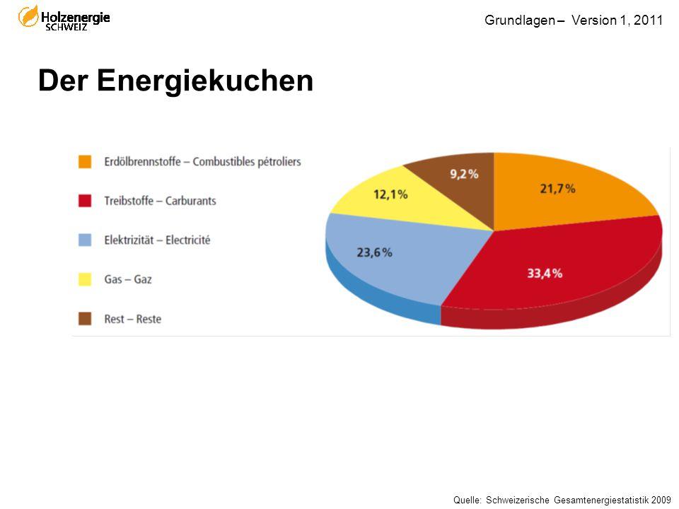 Grundlagen – Version 1, 2011 Der Energiekuchen Quelle: Schweizerische Gesamtenergiestatistik 2009