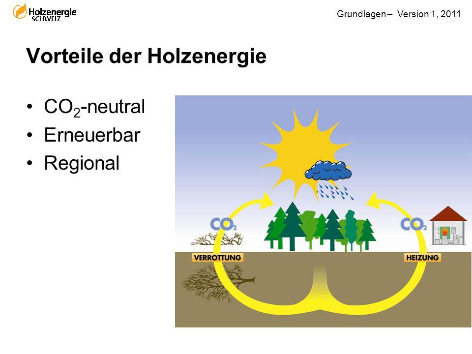 Grundlagen – Version 1, 2011 Vorteile der Holzenergie CO 2 -neutral Erneuerbar Regional
