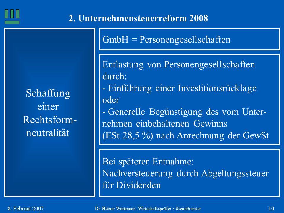 108. Februar 2007 Schaffung einer Rechtsform- neutralität GmbH = Personengesellschaften Dr. Heiner Wortmann Wirtschaftsprüfer  Steuerberater Entlastu