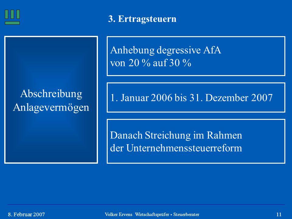 118. Februar 2007 3. Ertragsteuern Abschreibung Anlagevermögen Anhebung degressive AfA von 20 % auf 30 % 1. Januar 2006 bis 31. Dezember 2007 Danach S