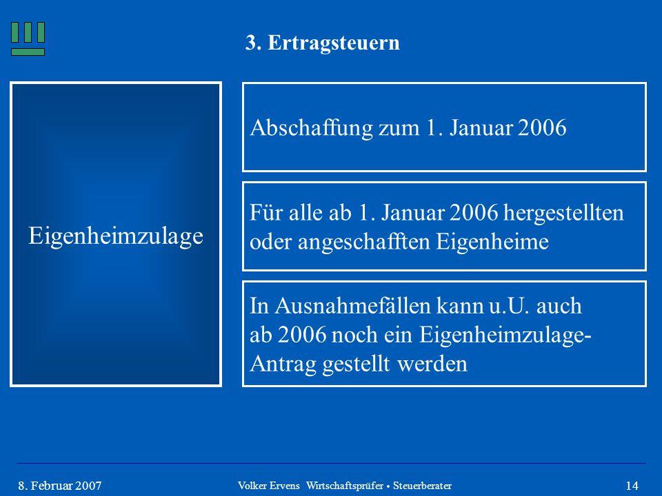 148. Februar 2007 3. Ertragsteuern Eigenheimzulage Abschaffung zum 1. Januar 2006 Für alle ab 1. Januar 2006 hergestellten oder angeschafften Eigenhei