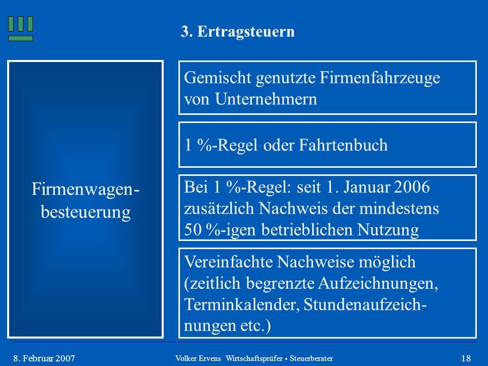188. Februar 2007 3. Ertragsteuern Firmenwagen- besteuerung Gemischt genutzte Firmenfahrzeuge von Unternehmern 1 %-Regel oder Fahrtenbuch Bei 1 %-Rege