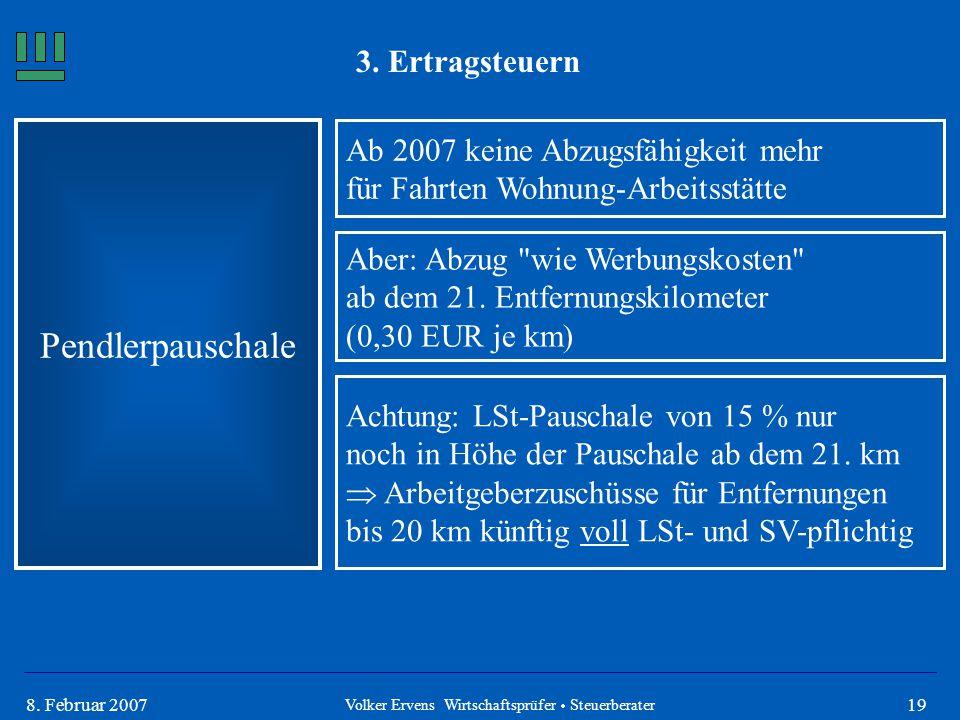 198. Februar 2007 3. Ertragsteuern Pendlerpauschale Ab 2007 keine Abzugsfähigkeit mehr für Fahrten Wohnung-Arbeitsstätte Aber: Abzug