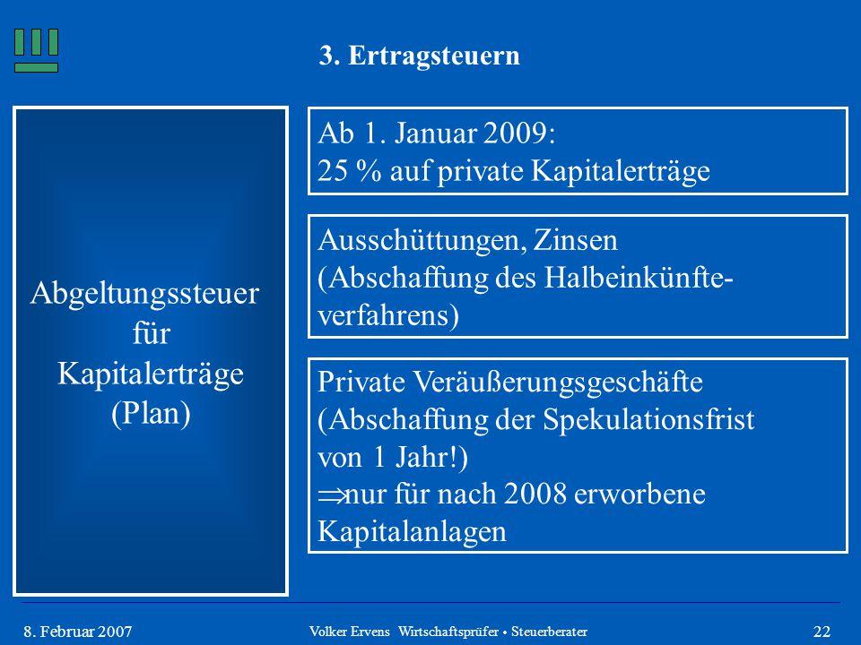 228. Februar 2007 3. Ertragsteuern Abgeltungssteuer für Kapitalerträge (Plan) Ab 1. Januar 2009: 25 % auf private Kapitalerträge Ausschüttungen, Zinse