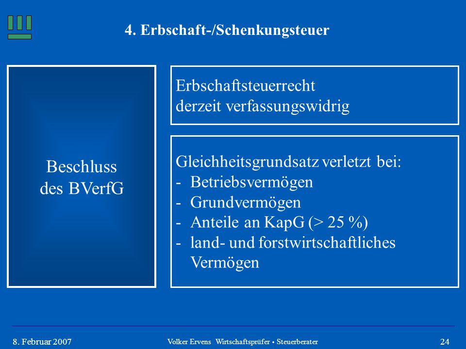 248. Februar 2007 4. Erbschaft-/Schenkungsteuer Beschluss des BVerfG Volker Ervens Wirtschaftsprüfer  Steuerberater Erbschaftsteuerrecht derzeit verf